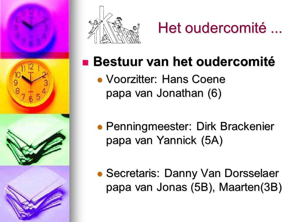Het oudercomité... Bestuur van het oudercomité Bestuur van het oudercomité Voorzitter: Hans Coene papa van Jonathan (6) Voorzitter: Hans Coene papa va