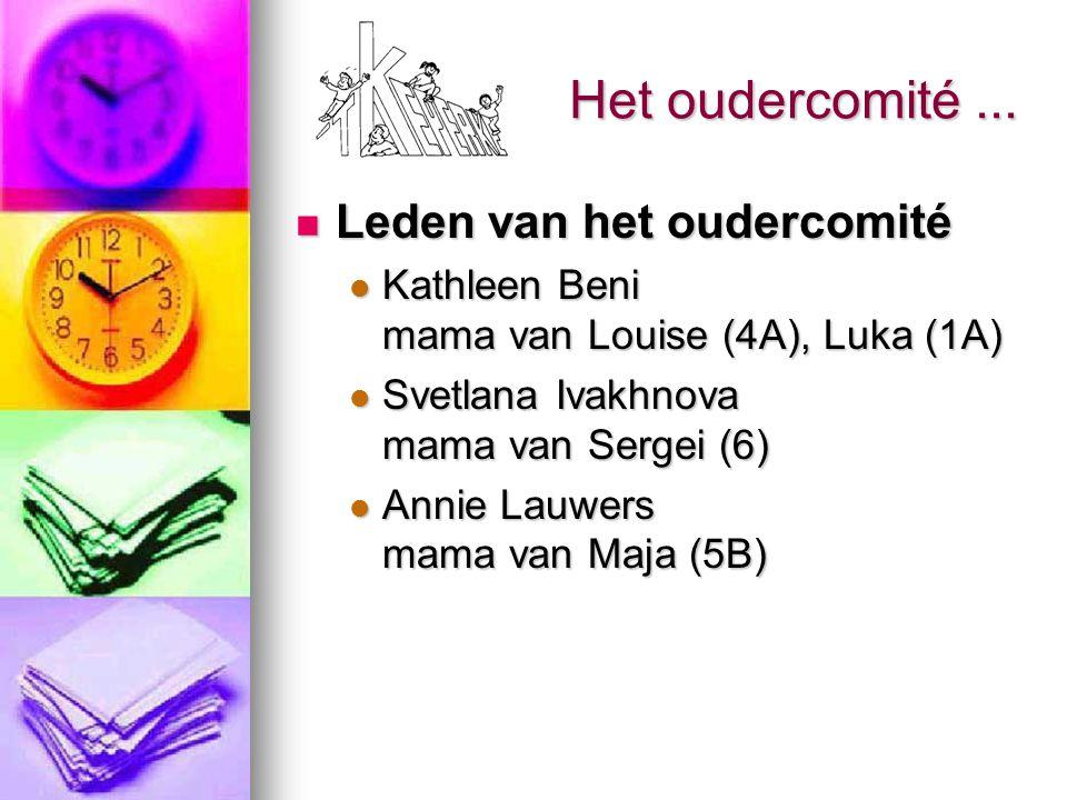 Het oudercomité... Leden van het oudercomité Leden van het oudercomité Kathleen Beni mama van Louise (4A), Luka (1A) Kathleen Beni mama van Louise (4A