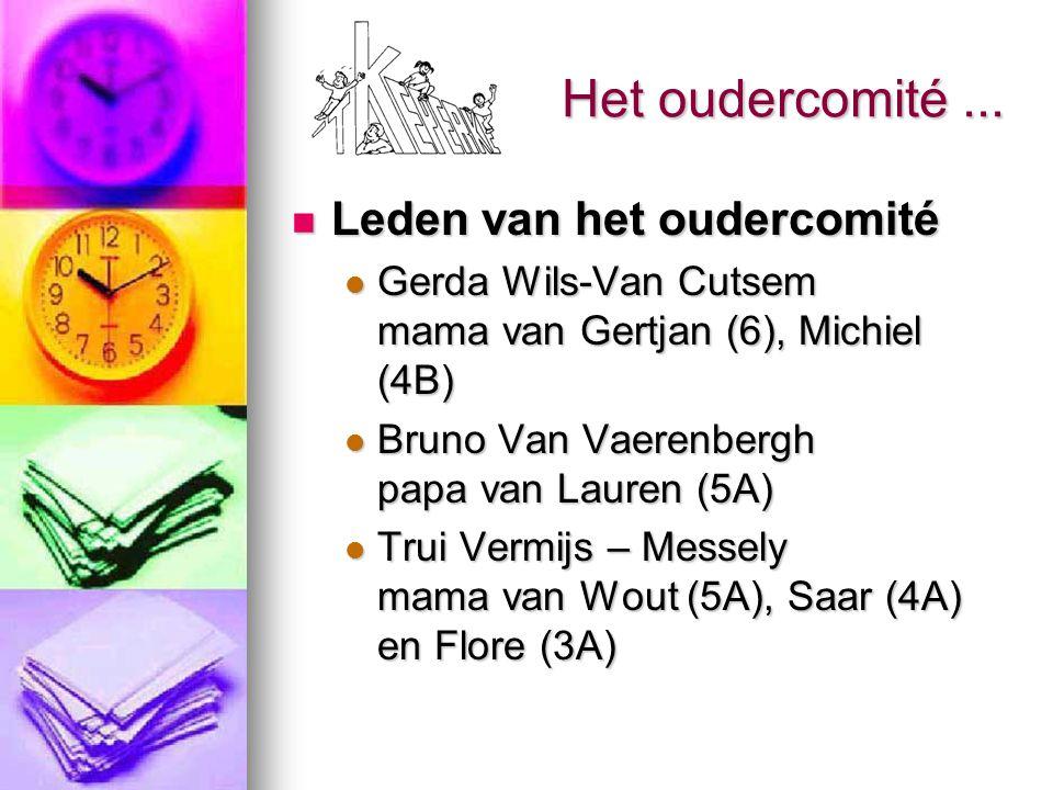 Het oudercomité... Leden van het oudercomité Leden van het oudercomité Gerda Wils-Van Cutsem mama van Gertjan (6), Michiel (4B) Gerda Wils-Van Cutsem
