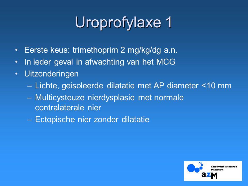 Uroprofylaxe 1 Eerste keus: trimethoprim 2 mg/kg/dg a.n. In ieder geval in afwachting van het MCG Uitzonderingen –Lichte, geisoleerde dilatatie met AP
