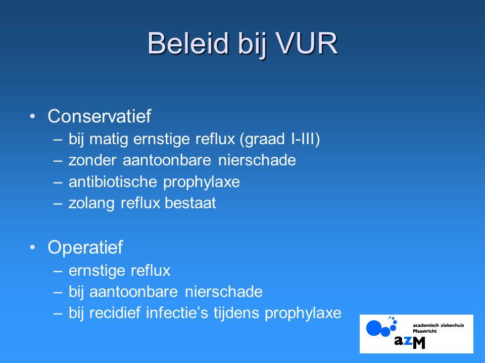 Beleid bij VUR Conservatief –bij matig ernstige reflux (graad I-III) –zonder aantoonbare nierschade –antibiotische prophylaxe –zolang reflux bestaat O