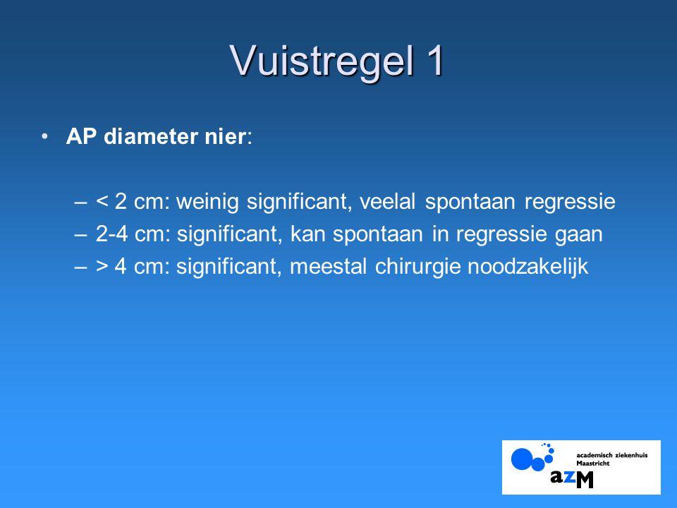 Vuistregel 1 AP diameter nier: –< 2 cm: weinig significant, veelal spontaan regressie –2-4 cm: significant, kan spontaan in regressie gaan –> 4 cm: significant, meestal chirurgie noodzakelijk