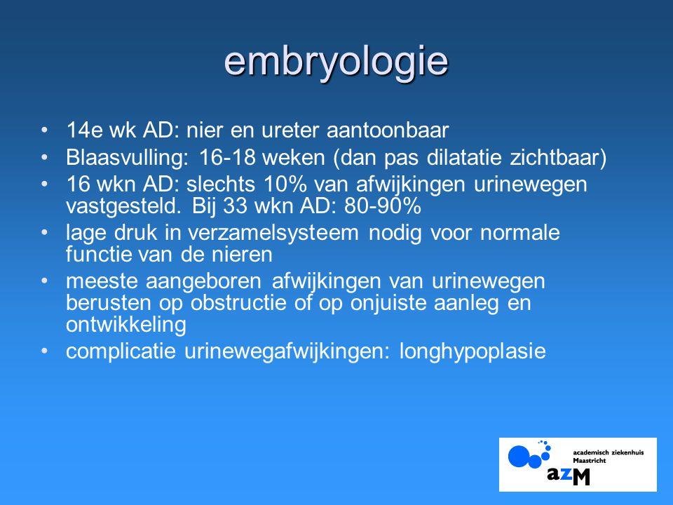 embryologie 14e wk AD: nier en ureter aantoonbaar Blaasvulling: 16-18 weken (dan pas dilatatie zichtbaar) 16 wkn AD: slechts 10% van afwijkingen urinewegen vastgesteld.