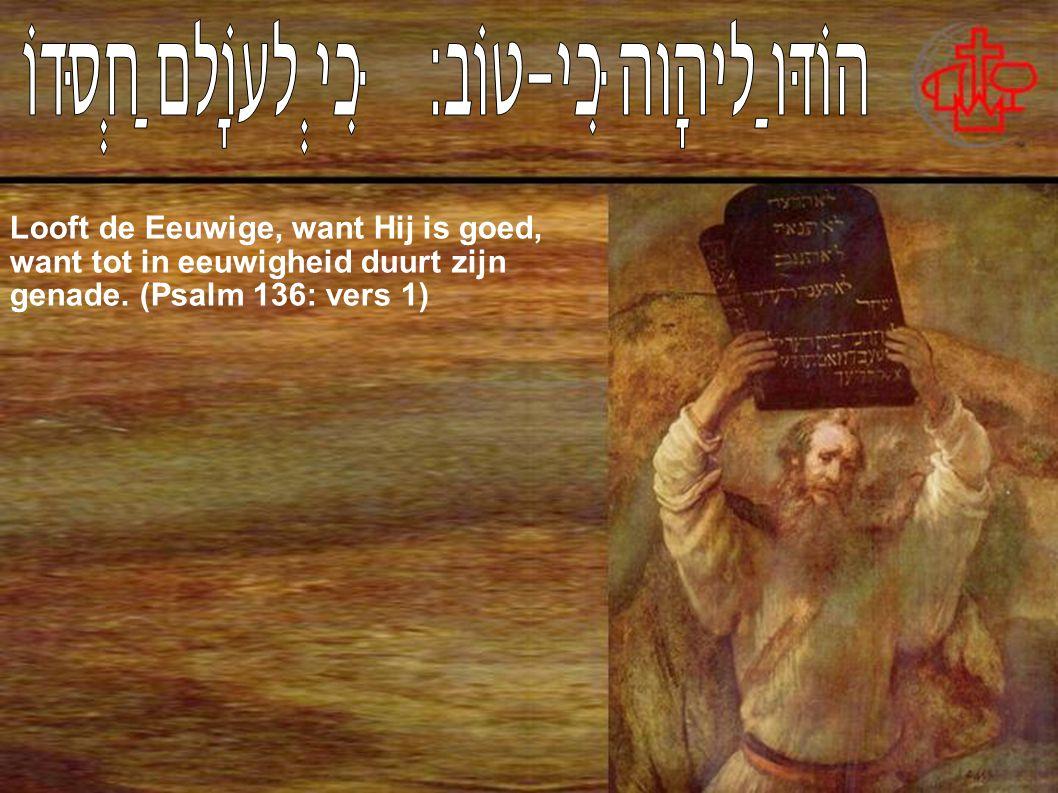 Looft de Eeuwige, want Hij is goed, want tot in eeuwigheid duurt zijn genade. (Psalm 136: vers 1)