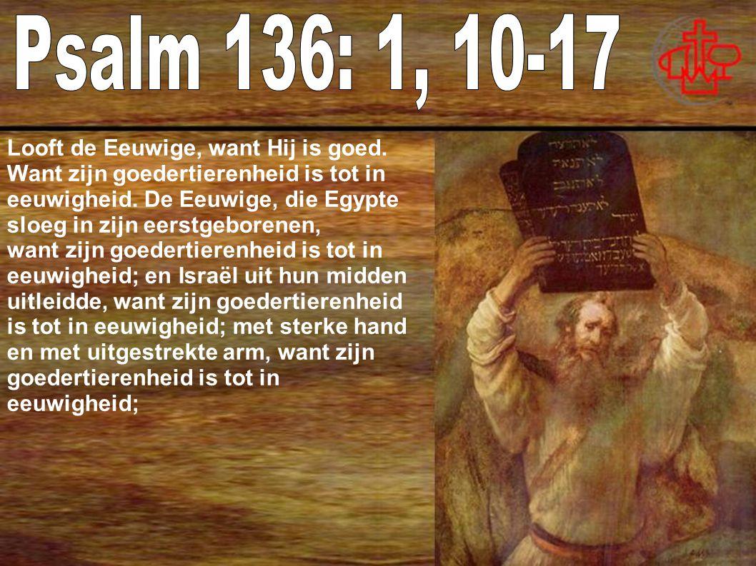 Looft de Eeuwige, want Hij is goed.Want zijn goedertierenheid is tot in eeuwigheid.
