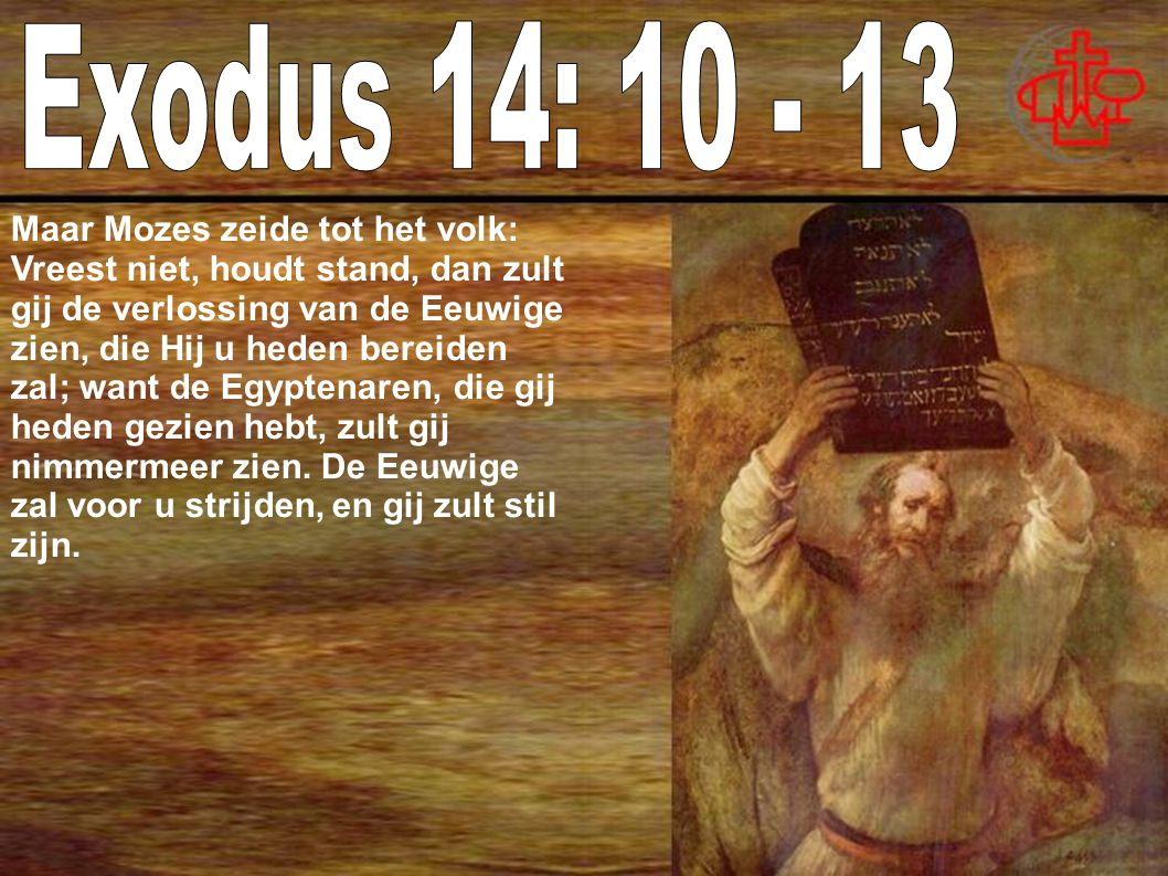 Maar Mozes zeide tot het volk: Vreest niet, houdt stand, dan zult gij de verlossing van de Eeuwige zien, die Hij u heden bereiden zal; want de Egyptenaren, die gij heden gezien hebt, zult gij nimmermeer zien.