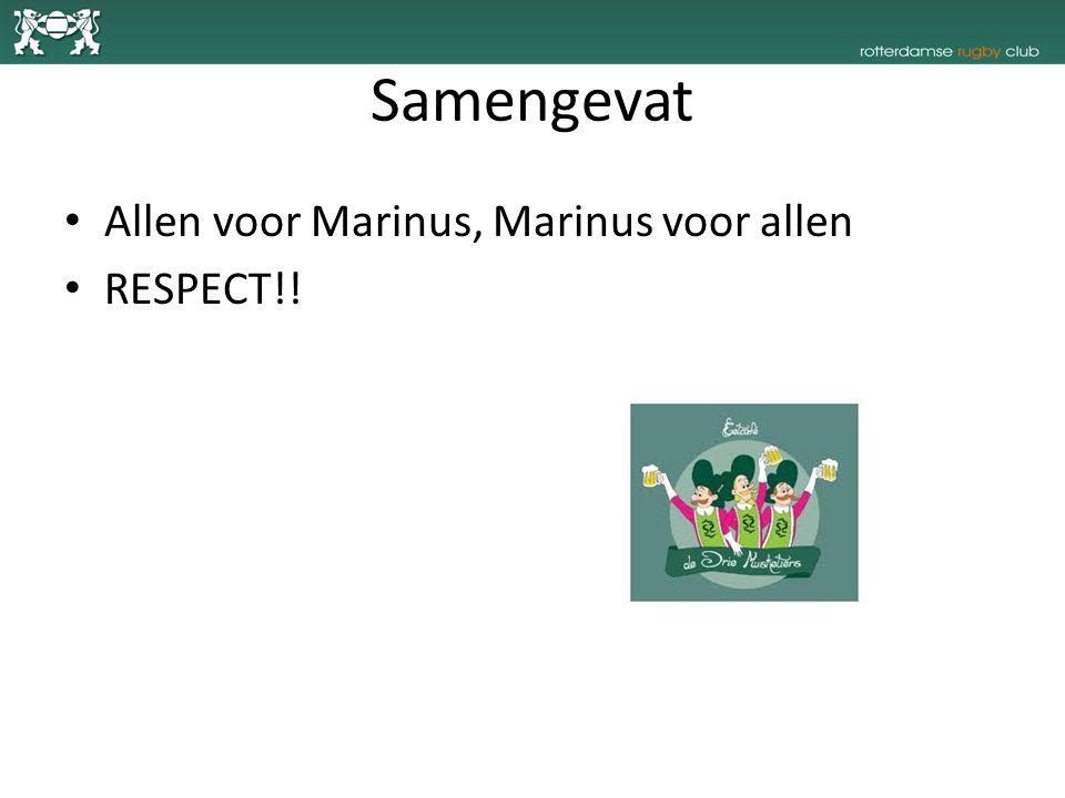 Samengevat Allen voor Marinus, Marinus voor allen RESPECT!!