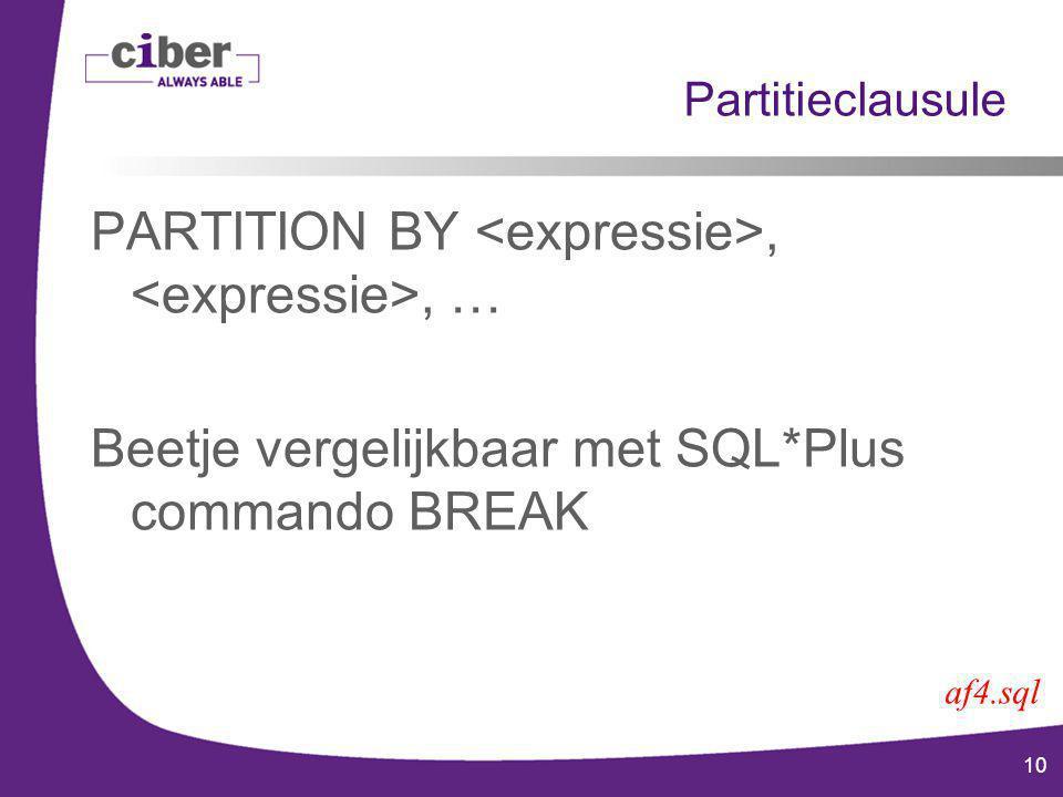 10 Partitieclausule PARTITION BY,, … Beetje vergelijkbaar met SQL*Plus commando BREAK af4.sql