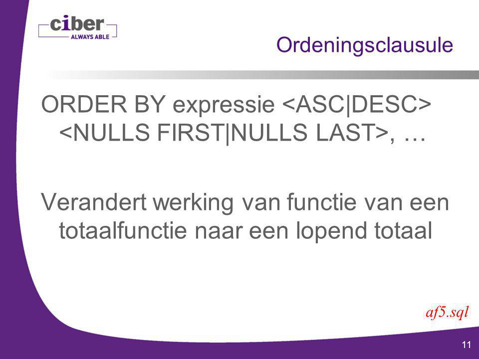 11 Ordeningsclausule ORDER BY expressie, … Verandert werking van functie van een totaalfunctie naar een lopend totaal af5.sql