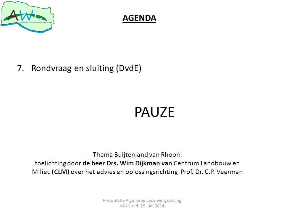AGENDA 7.Rondvraag en sluiting (DvdE) PAUZE Thema Buijtenland van Rhoon: toelichting door de heer Drs.