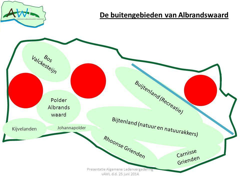 Kijvelanden Polder Albrands waard Rhoonse Grienden Carnisse Grienden Bos Valckesteijn Johannapolder Bijtenland (natuur en natuurakkers) Buijtenland (Recreatie) De buitengebieden van Albrandswaard Presentatie Algemene Ledenvergadering vAWL d.d.