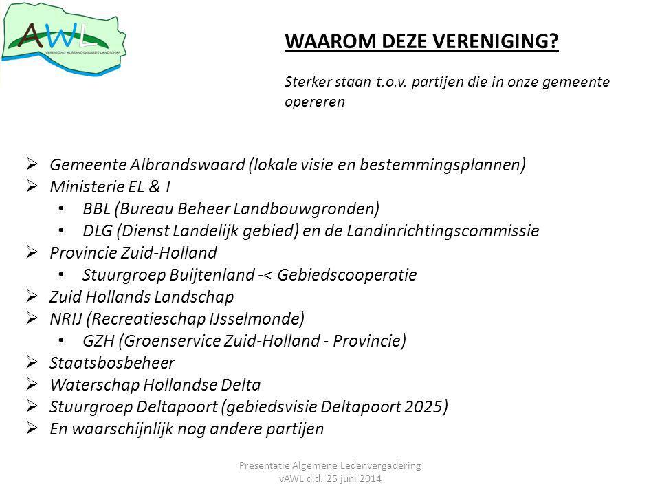  Gemeente Albrandswaard (lokale visie en bestemmingsplannen)  Ministerie EL & I BBL (Bureau Beheer Landbouwgronden) DLG (Dienst Landelijk gebied) en de Landinrichtingscommissie  Provincie Zuid-Holland Stuurgroep Buijtenland -< Gebiedscooperatie  Zuid Hollands Landschap  NRIJ (Recreatieschap IJsselmonde) GZH (Groenservice Zuid-Holland - Provincie)  Staatsbosbeheer  Waterschap Hollandse Delta  Stuurgroep Deltapoort (gebiedsvisie Deltapoort 2025)  En waarschijnlijk nog andere partijen WAAROM DEZE VERENIGING.