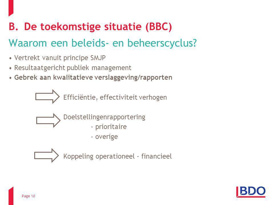 Page 10 B.De toekomstige situatie (BBC) Waarom een beleids- en beheerscyclus? Vertrekt vanuit principe SMJP Resultaatgericht publiek management Gebrek