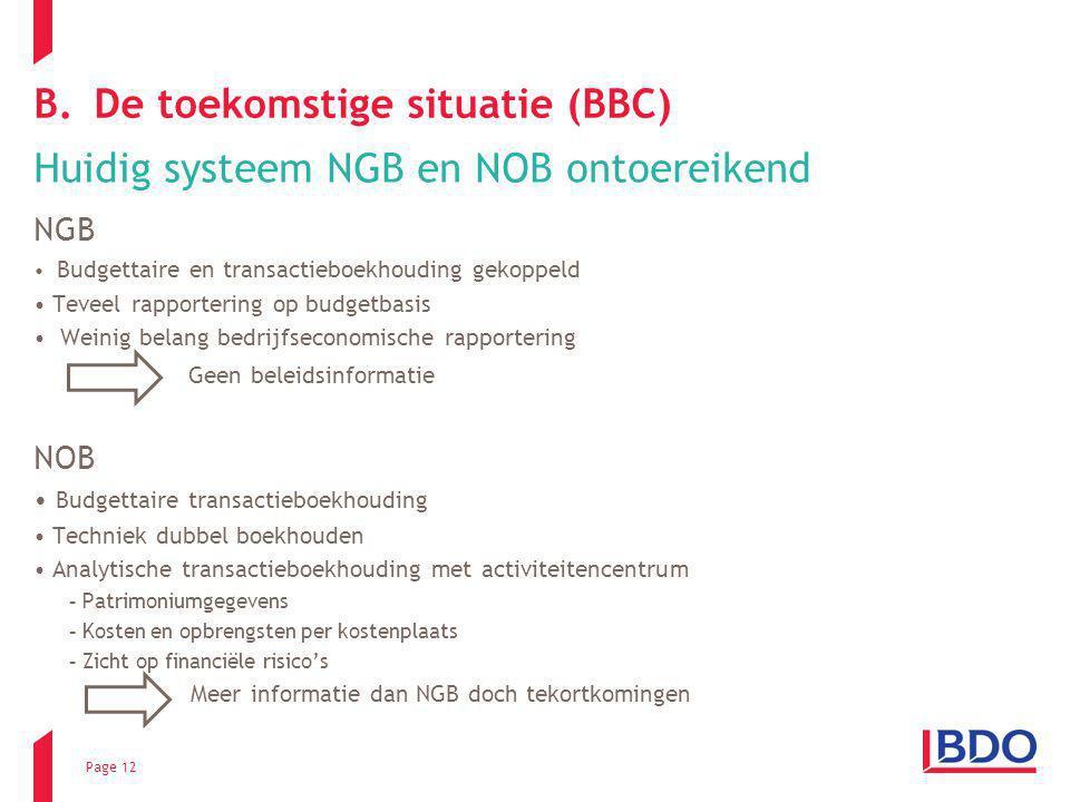 Page 12 B.De toekomstige situatie (BBC) Huidig systeem NGB en NOB ontoereikend NGB Budgettaire en transactieboekhouding gekoppeld Teveel rapportering