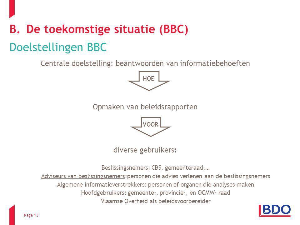 Page 13 B.De toekomstige situatie (BBC) Doelstellingen BBC Centrale doelstelling: beantwoorden van informatiebehoeften Opmaken van beleidsrapporten di