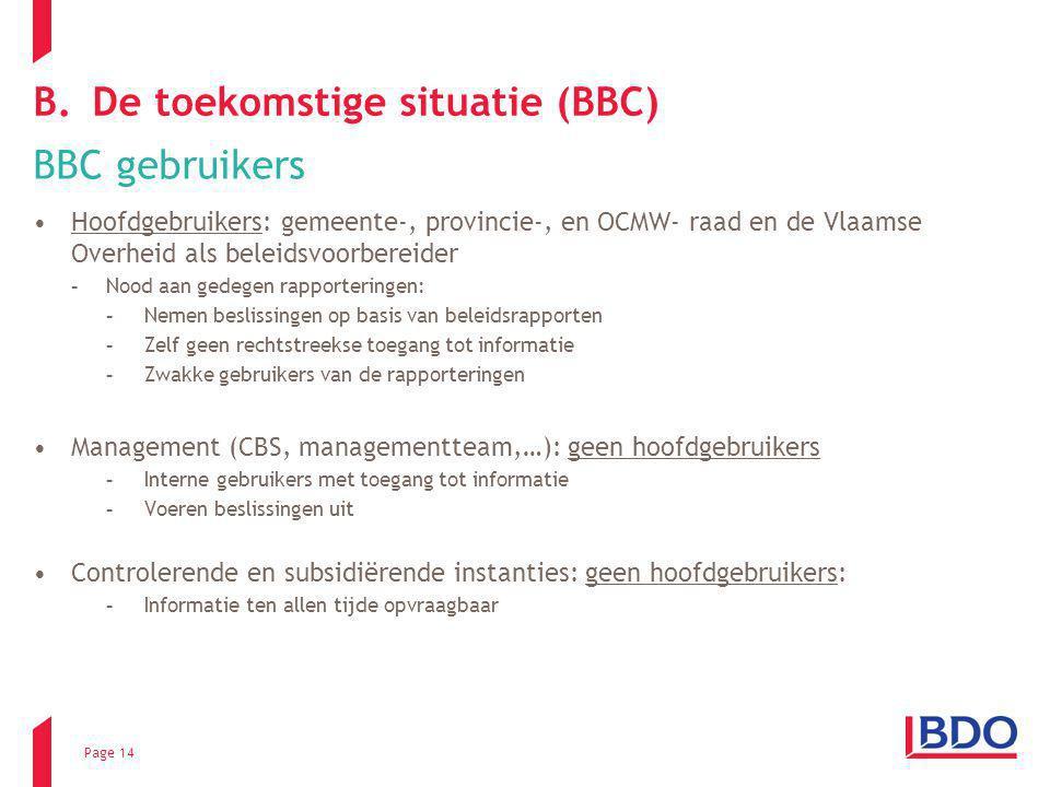 Page 14 B.De toekomstige situatie (BBC) BBC gebruikers Hoofdgebruikers: gemeente-, provincie-, en OCMW- raad en de Vlaamse Overheid als beleidsvoorber