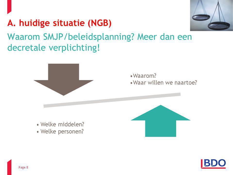 Page 8 A. huidige situatie (NGB) Waarom SMJP/beleidsplanning? Meer dan een decretale verplichting! Waarom? Waar willen we naartoe? Welke middelen? Wel