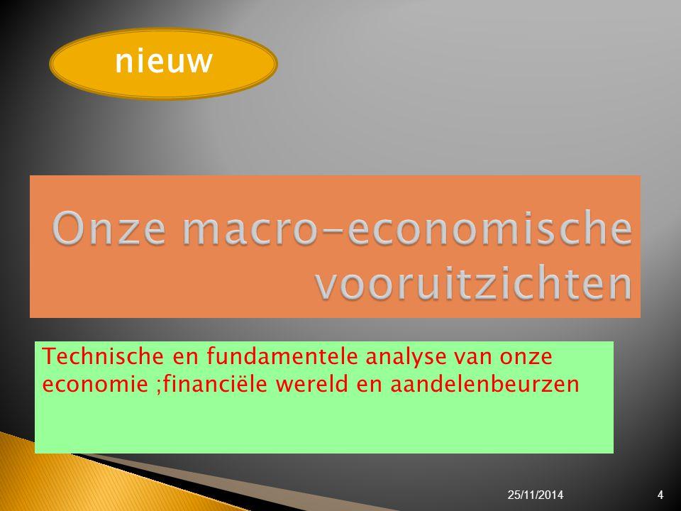 Technische en fundamentele analyse van onze economie ;financiële wereld en aandelenbeurzen 25/11/20144 nieuw