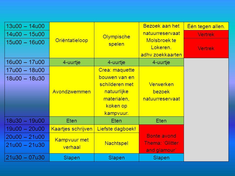 13u00 – 14u00 Oriëntatieloop Olympische spelen Bezoek aan het natuurreservaat Molsbroek te Lokeren. adhv zoekkaarten Één tegen allen. 14u00 – 15u00 Ve