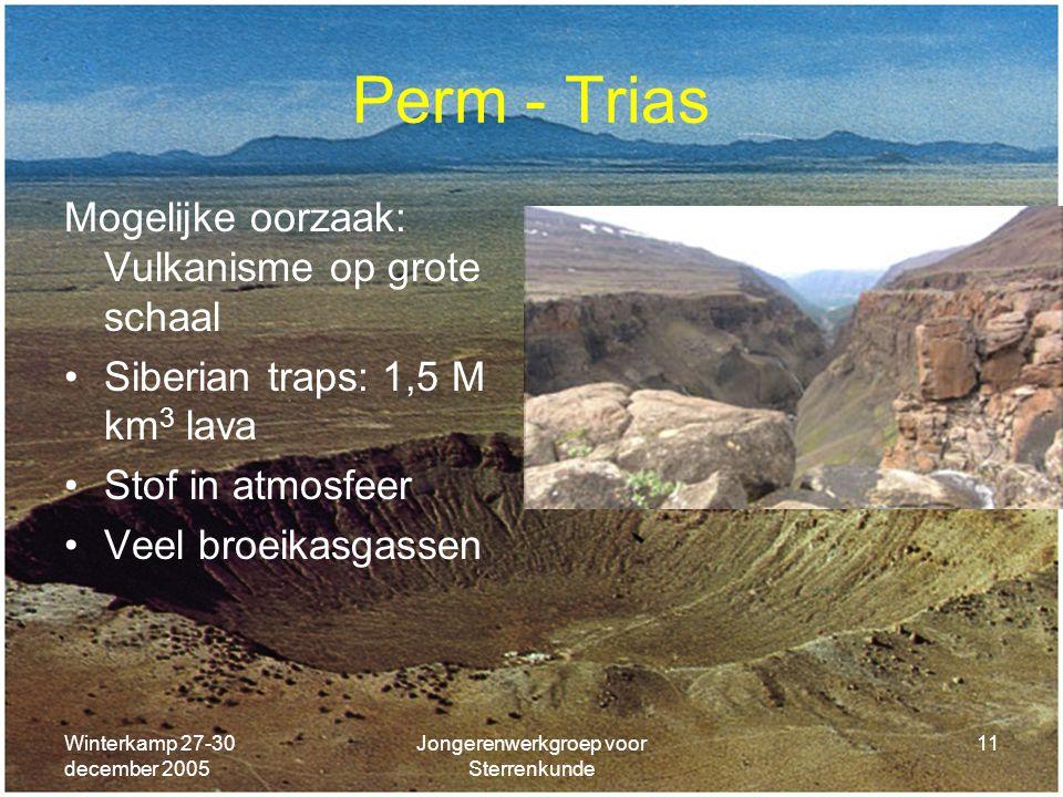 Winterkamp 27-30 december 2005 Jongerenwerkgroep voor Sterrenkunde 11 Perm - Trias Mogelijke oorzaak: Vulkanisme op grote schaal Siberian traps: 1,5 M