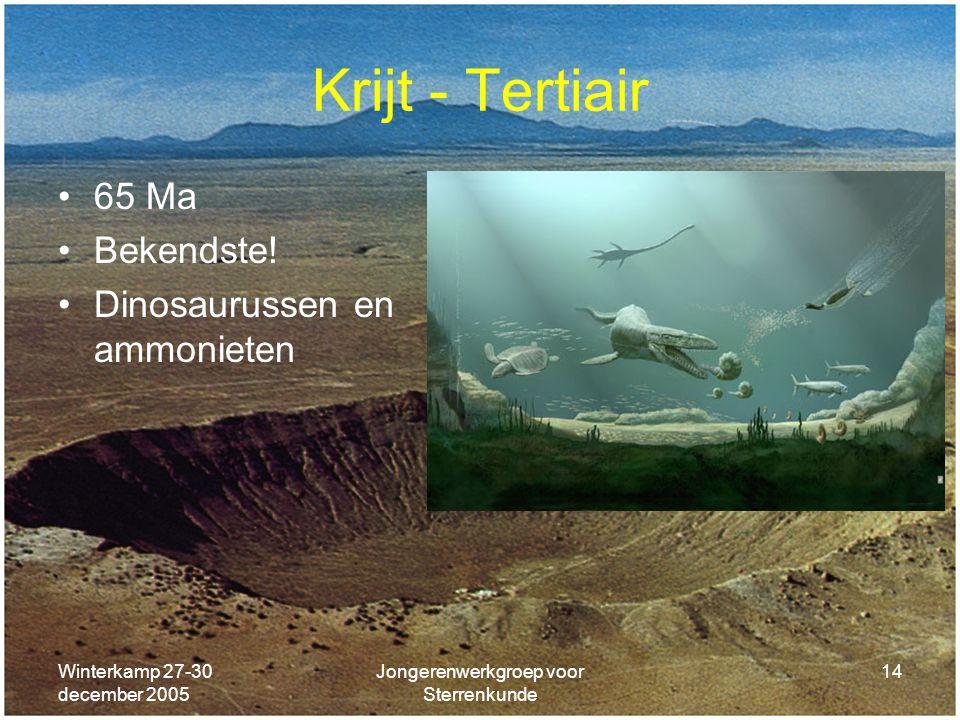 Winterkamp 27-30 december 2005 Jongerenwerkgroep voor Sterrenkunde 14 Krijt - Tertiair 65 Ma Bekendste! Dinosaurussen en ammonieten