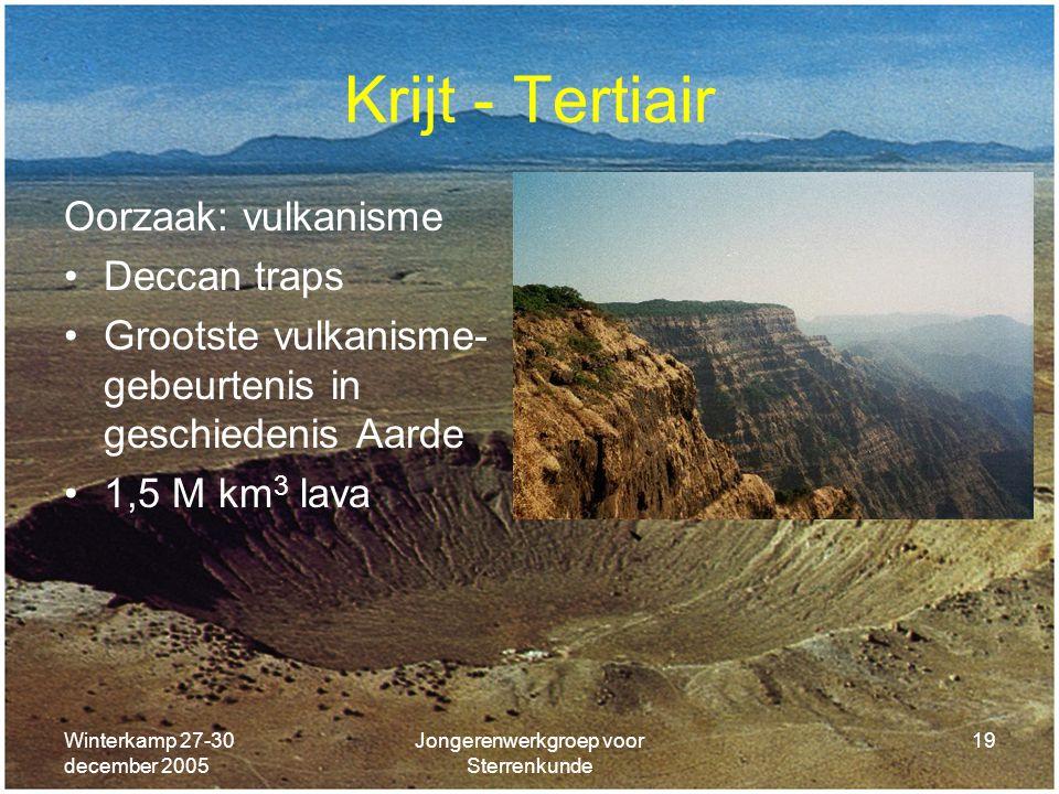 Winterkamp 27-30 december 2005 Jongerenwerkgroep voor Sterrenkunde 19 Krijt - Tertiair Oorzaak: vulkanisme Deccan traps Grootste vulkanisme- gebeurten