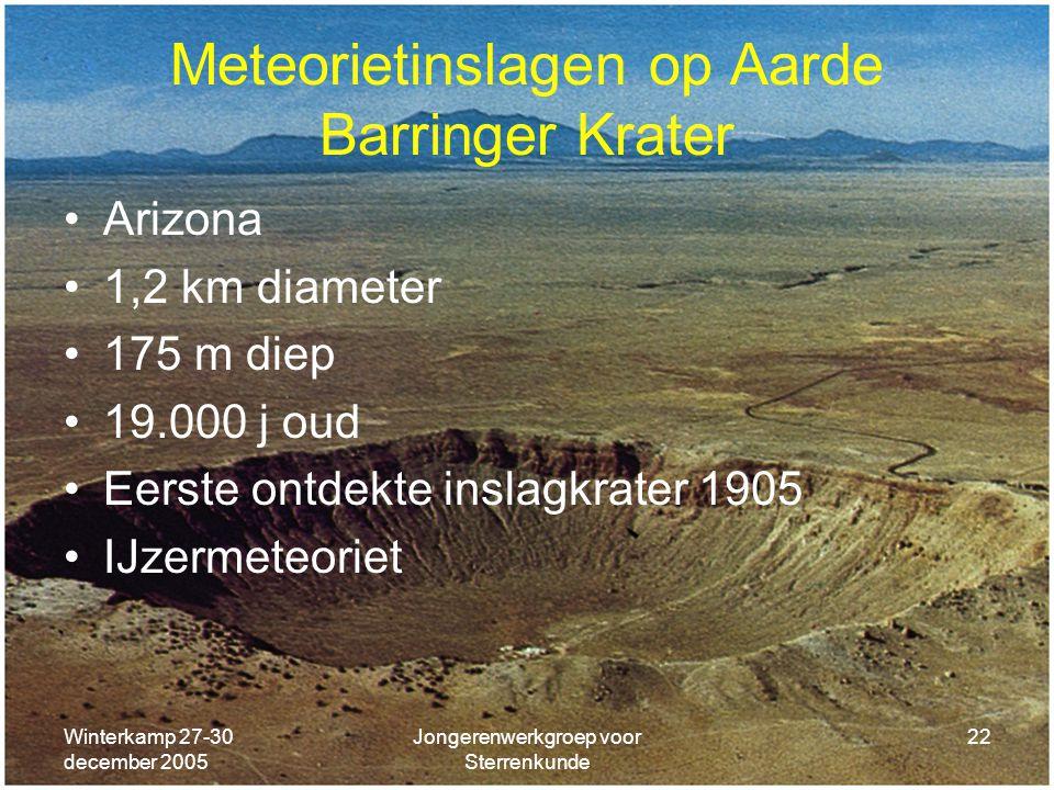 Winterkamp 27-30 december 2005 Jongerenwerkgroep voor Sterrenkunde 22 Meteorietinslagen op Aarde Barringer Krater Arizona 1,2 km diameter 175 m diep 1