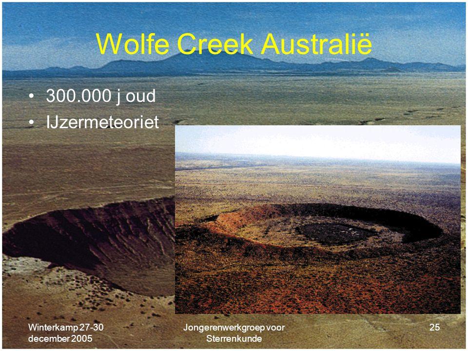 Winterkamp 27-30 december 2005 Jongerenwerkgroep voor Sterrenkunde 25 Wolfe Creek Australië 300.000 j oud IJzermeteoriet