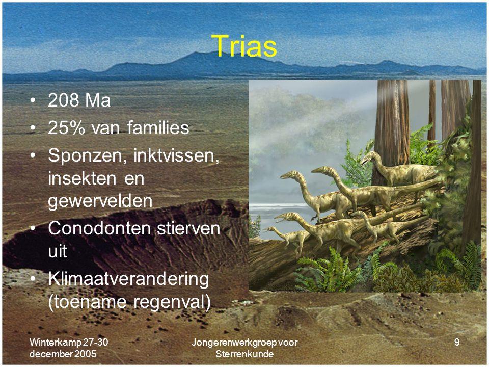 Winterkamp 27-30 december 2005 Jongerenwerkgroep voor Sterrenkunde 9 Trias 208 Ma 25% van families Sponzen, inktvissen, insekten en gewervelden Conodo