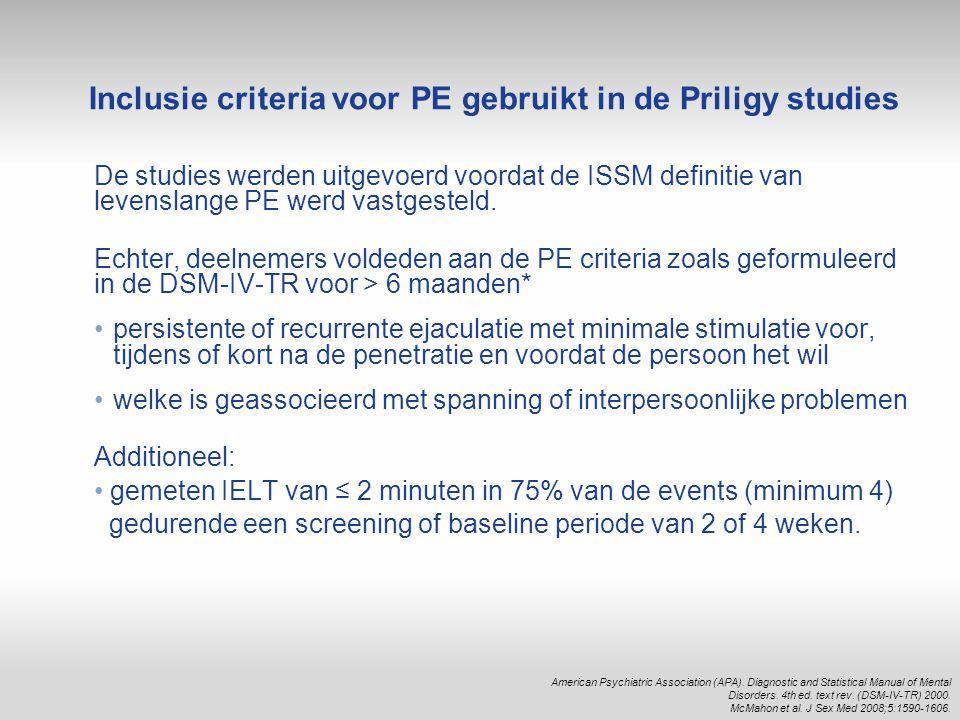 De studies werden uitgevoerd voordat de ISSM definitie van levenslange PE werd vastgesteld. Echter, deelnemers voldeden aan de PE criteria zoals gefor