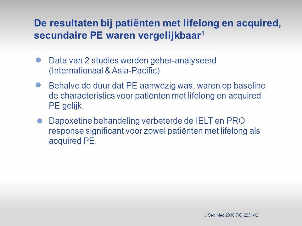 1 J Sex Med 2010;7(6):2231-42. Data van 2 studies werden geher-analyseerd (Internationaal & Asia-Pacific) Behalve de duur dat PE aanwezig was, waren o