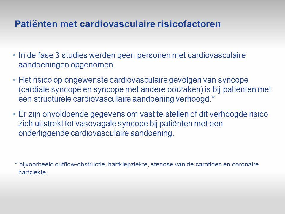 Patiënten met cardiovasculaire risicofactoren In de fase 3 studies werden geen personen met cardiovasculaire aandoeningen opgenomen. Het risico op ong