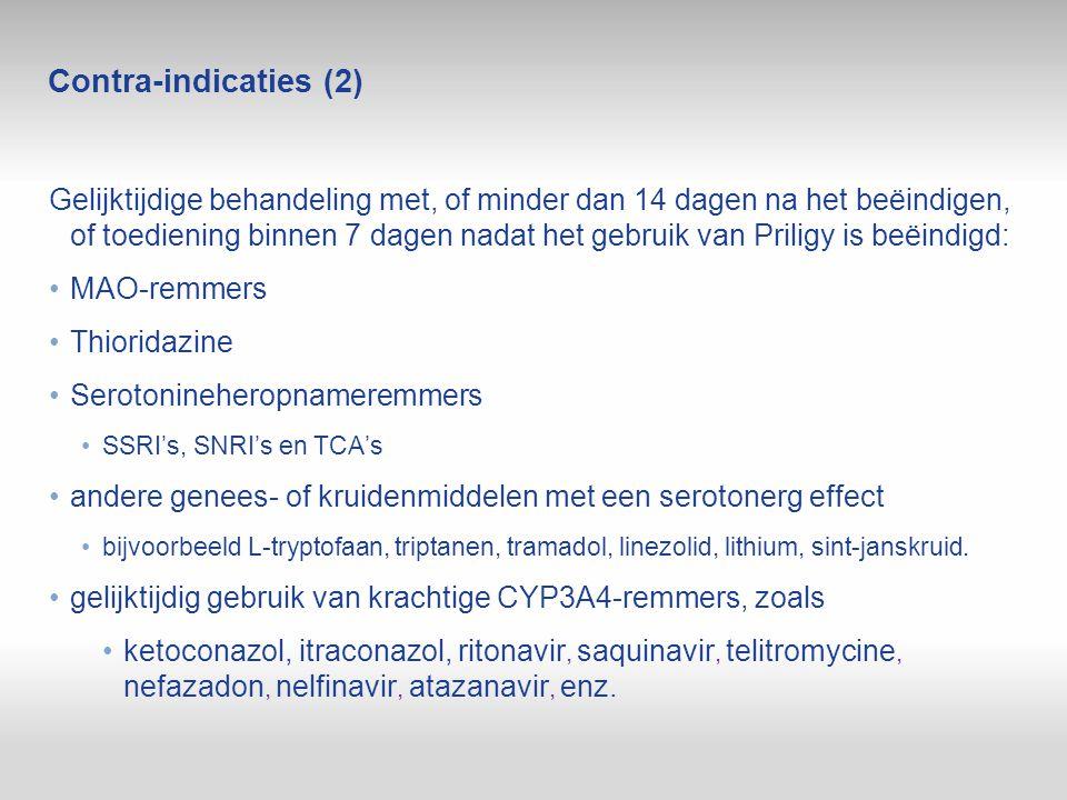 Contra ‑ indicaties (2) Gelijktijdige behandeling met, of minder dan 14 dagen na het beëindigen, of toediening binnen 7 dagen nadat het gebruik van Pr