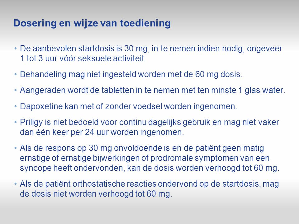 Dosering en wijze van toediening De aanbevolen startdosis is 30 mg, in te nemen indien nodig, ongeveer 1 tot 3 uur vóór seksuele activiteit. Behandeli