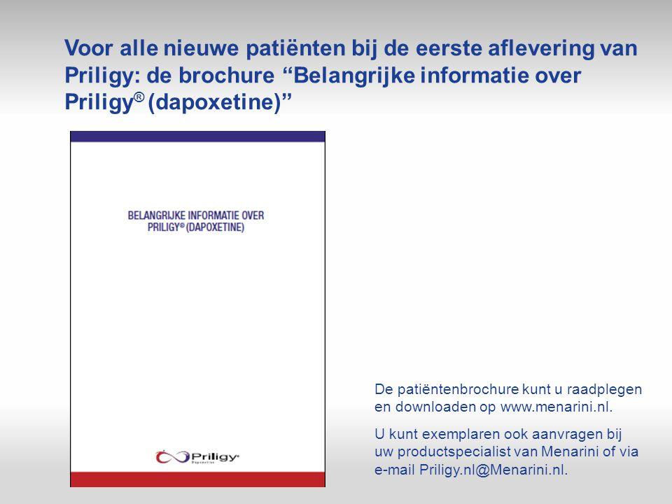 """Voor alle nieuwe patiënten bij de eerste aflevering van Priligy: de brochure """"Belangrijke informatie over Priligy ® (dapoxetine)"""" De patiëntenbrochure"""