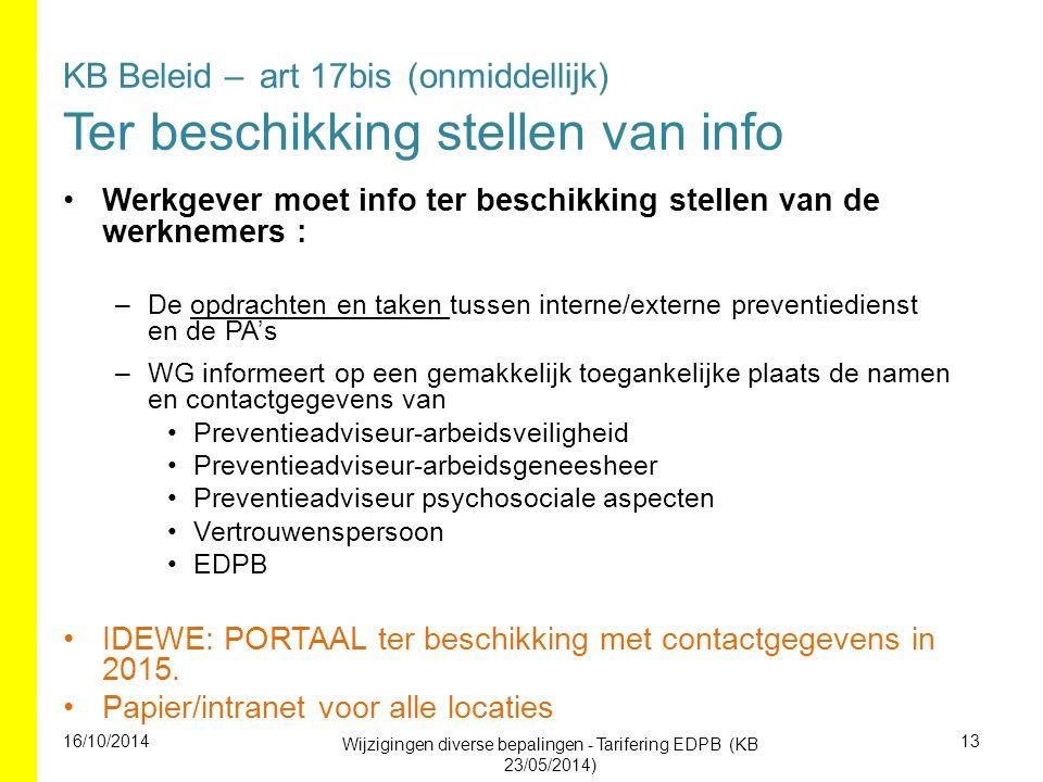 KB Beleid – art 17bis (onmiddellijk) Ter beschikking stellen van info Werkgever moet info ter beschikking stellen van de werknemers : –De opdrachten e