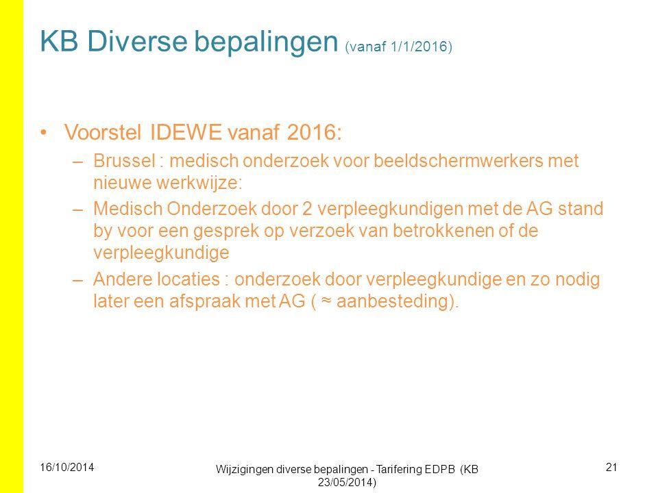 KB Diverse bepalingen (vanaf 1/1/2016) Voorstel IDEWE vanaf 2016: –Brussel : medisch onderzoek voor beeldschermwerkers met nieuwe werkwijze: –Medisch