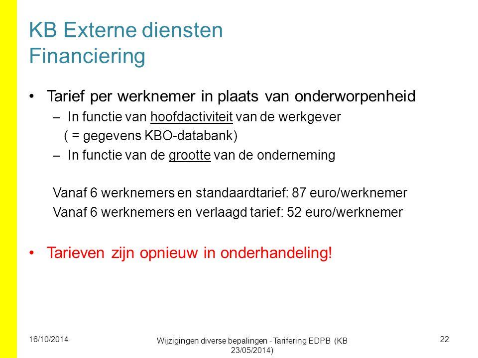 KB Externe diensten Financiering Tarief per werknemer in plaats van onderworpenheid –In functie van hoofdactiviteit van de werkgever ( = gegevens KBO-