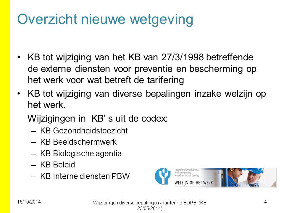 Wijzigingen met onmiddellijke ingang KB tot wijziging van KB Externe Diensten PBW 1998 voor wat betreft de tarifering KB wijziging diverse bepalingen inzake welzijn op het werk –KB Gezondheidstoezicht –KB Beeldschermwerk –KB Biologische agentia –KB Beleid –KB Interne diensten PBW 16/10/2014 Wijzigingen diverse bepalingen - Tarifering EDPB (KB 23/05/2014) 5
