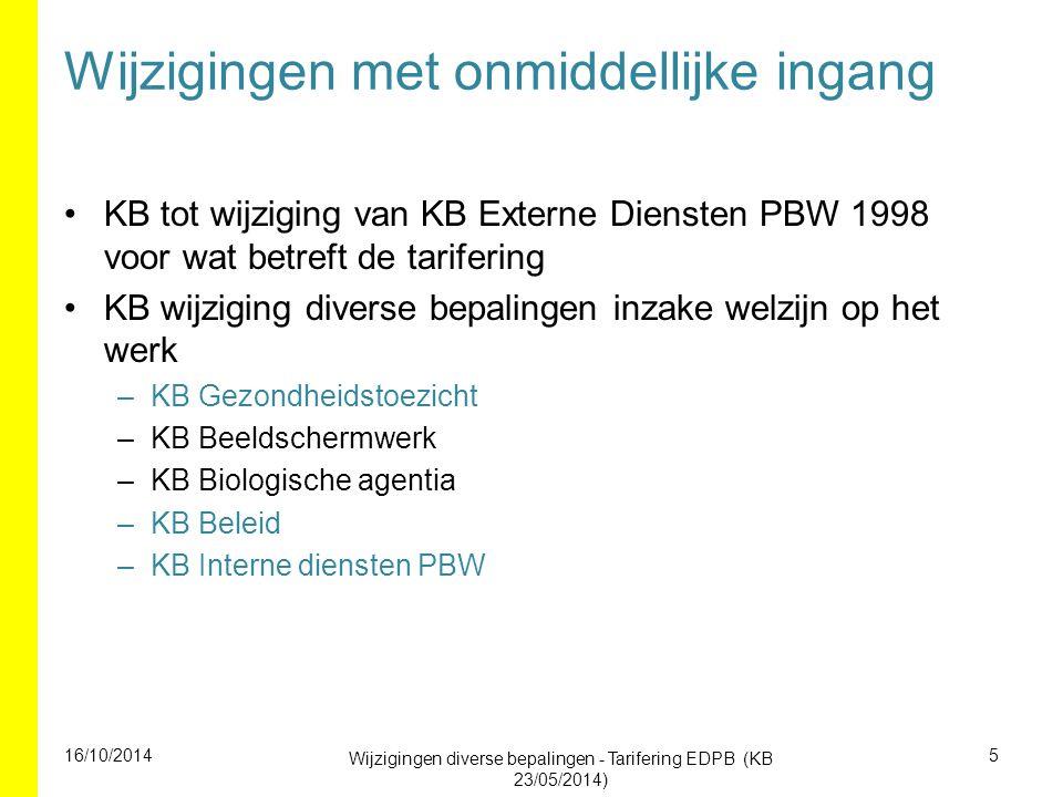 Wijzigingen met onmiddellijke ingang KB tot wijziging van KB Externe Diensten PBW 1998 voor wat betreft de tarifering KB wijziging diverse bepalingen