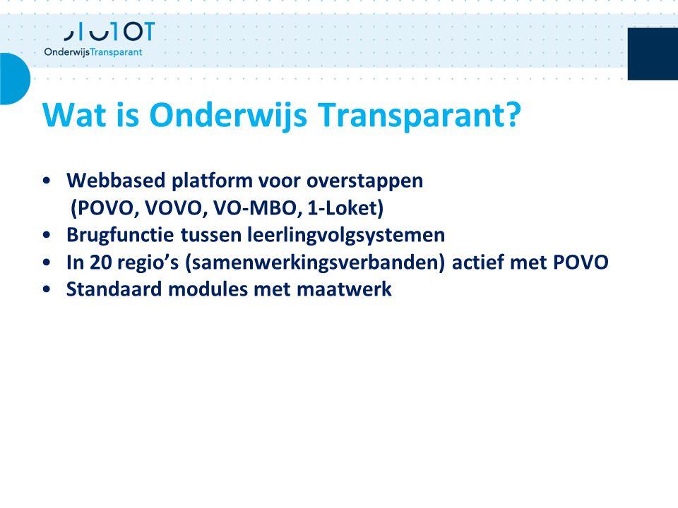 Wat is Onderwijs Transparant? Webbased platform voor overstappen (POVO, VOVO, VO-MBO, 1-Loket) Brugfunctie tussen leerlingvolgsystemen In 20 regio's (