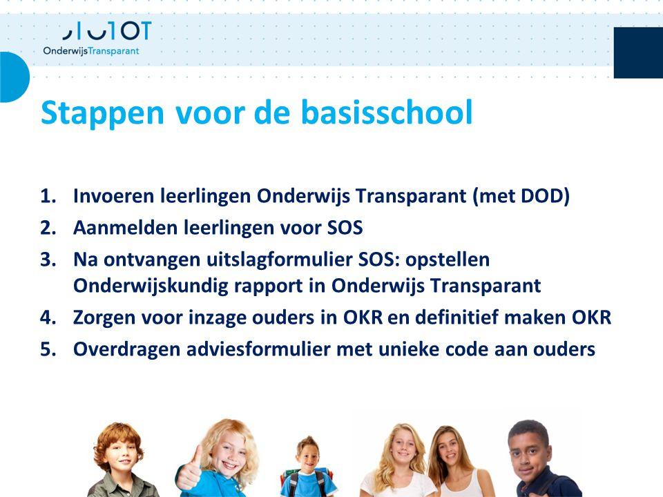 1.Invoeren leerlingen Onderwijs Transparant (met DOD) 2.Aanmelden leerlingen voor SOS 3.Na ontvangen uitslagformulier SOS: opstellen Onderwijskundig r