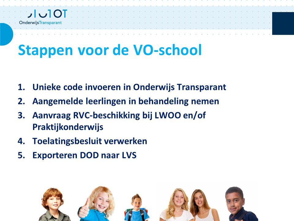 1.Unieke code invoeren in Onderwijs Transparant 2.Aangemelde leerlingen in behandeling nemen 3.Aanvraag RVC-beschikking bij LWOO en/of Praktijkonderwi