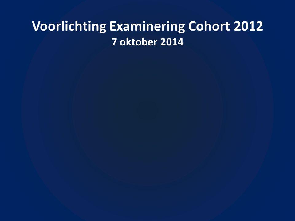 Voorlichting Examinering Cohort 2012 7 oktober 2014 Diploma (geslaagd of gezakt).
