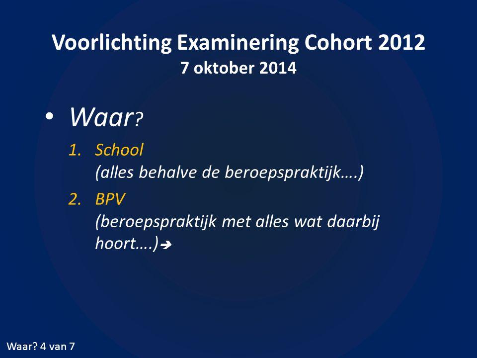 Voorlichting Examinering Cohort 2012 7 oktober 2014 Waar ? 1.School (alles behalve de beroepspraktijk….) 2.BPV (beroepspraktijk met alles wat daarbij