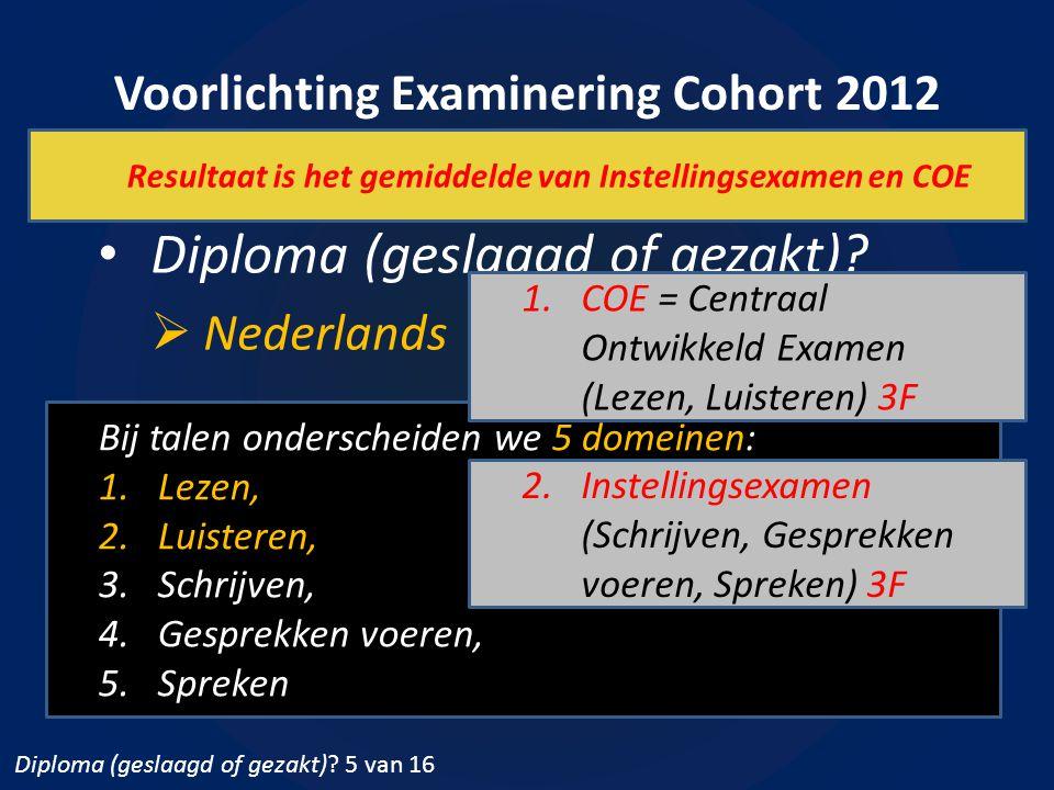 Voorlichting Examinering Cohort 2012 7 oktober 2014 Diploma (geslaagd of gezakt)?  Nederlands Bij talen onderscheiden we 5 domeinen: 1.Lezen, 2.Luist