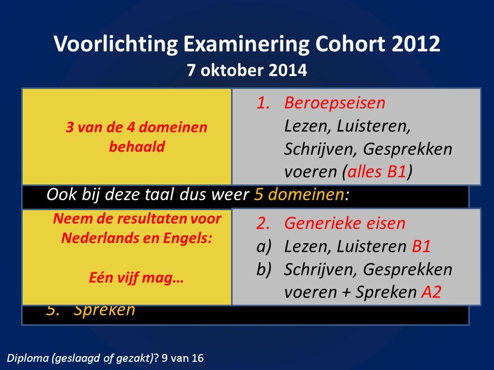 Voorlichting Examinering Cohort 2012 7 oktober 2014 Diploma (geslaagd of gezakt)?  Engels Ook bij deze taal dus weer 5 domeinen: 1.Lezen, 2.Luisteren