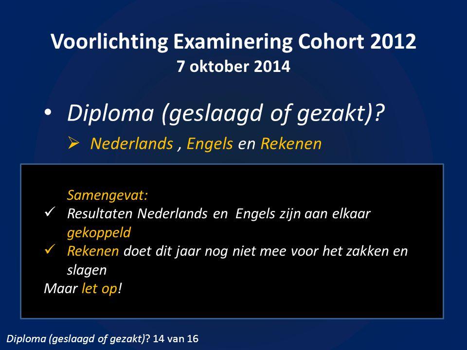 Voorlichting Examinering Cohort 2012 7 oktober 2014 Diploma (geslaagd of gezakt)?  Nederlands, Engels en Rekenen Samengevat: Resultaten Nederlands en