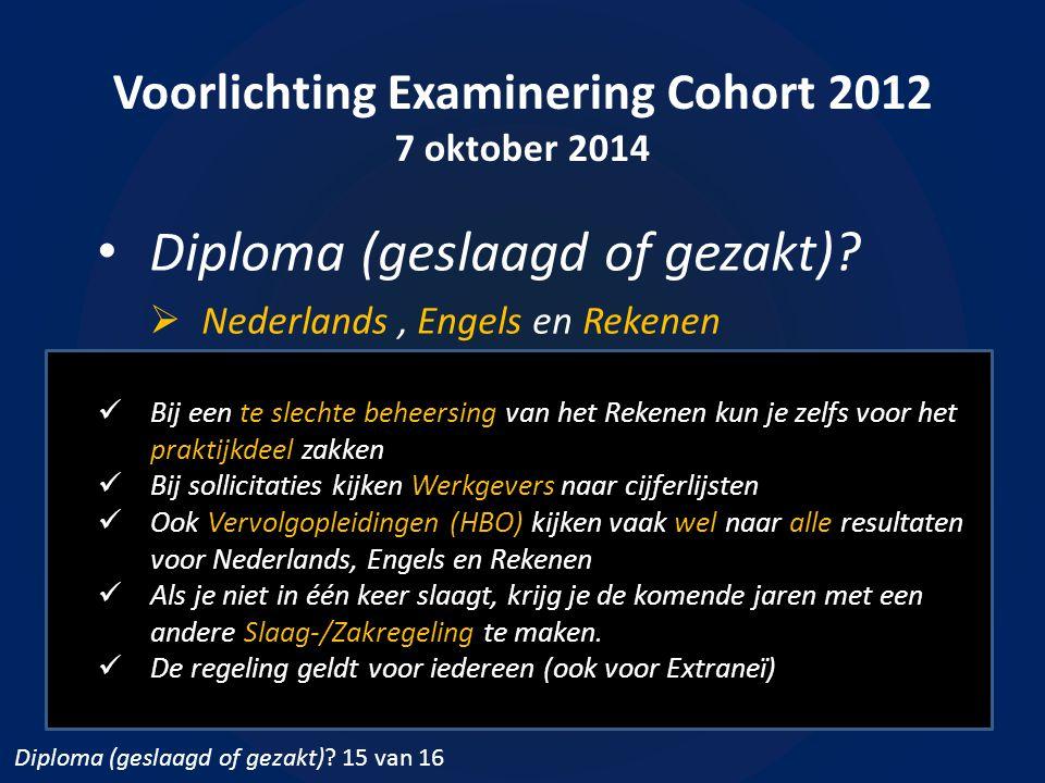Voorlichting Examinering Cohort 2012 7 oktober 2014 Diploma (geslaagd of gezakt)?  Nederlands, Engels en Rekenen Bij een te slechte beheersing van he