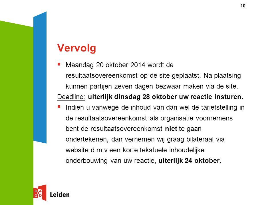 Vervolg  Maandag 20 oktober 2014 wordt de resultaatsovereenkomst op de site geplaatst.